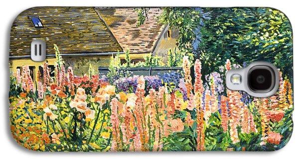 Hollyhocks Garden Galaxy S4 Case by David Lloyd Glover