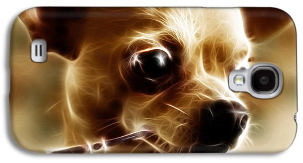 Fuzzy Digital Art Galaxy S4 Cases - Hollywood Fifi Chika Chihuahua - Electric Art - With Text Galaxy S4 Case by Wingsdomain Art and Photography
