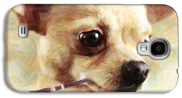 Fuzzy Digital Art Galaxy S4 Cases - Hollywood Fifi Chika Chihuahua - Painterly Galaxy S4 Case by Wingsdomain Art and Photography