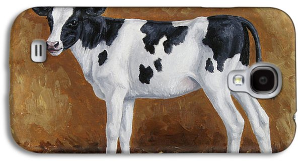 Cows Paintings Galaxy S4 Cases - Holstein Calf Galaxy S4 Case by Crista Forest
