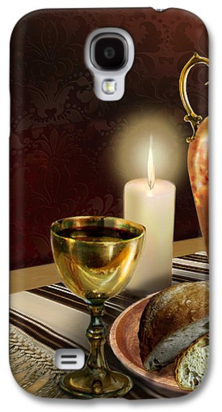 Wine Canvas Paintings Galaxy S4 Cases - Jewish table setting with bread and wine Galaxy S4 Case by Gina Femrite