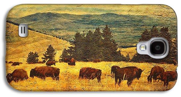Buffalo Art Digital Art Galaxy S4 Cases - Home on the Range Galaxy S4 Case by Lianne Schneider