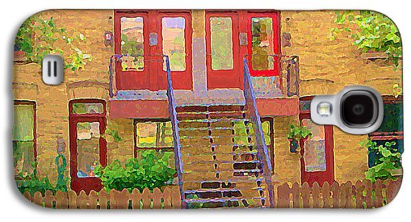 Montreal Memories Galaxy S4 Cases - Home Sweet Home Red Wooden Doors The Walk Up Where We Grew Up Montreal Memories Carole Spandau Galaxy S4 Case by Carole Spandau