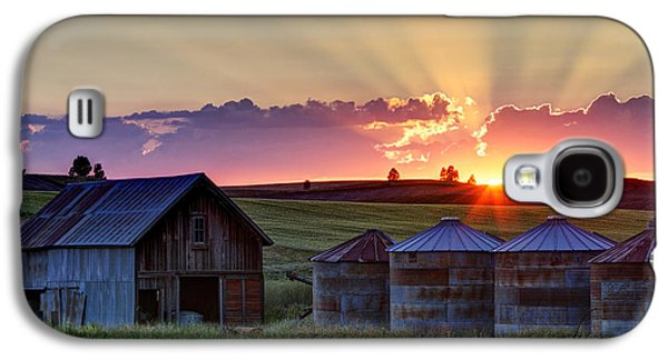 Silos Galaxy S4 Cases - Home Town Sunset Galaxy S4 Case by Mark Kiver