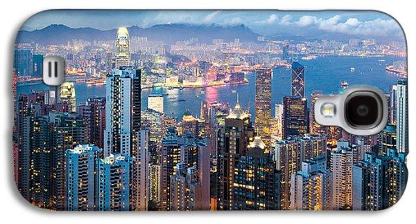 City Lights Galaxy S4 Cases - Hong Kong at Dusk Galaxy S4 Case by Dave Bowman