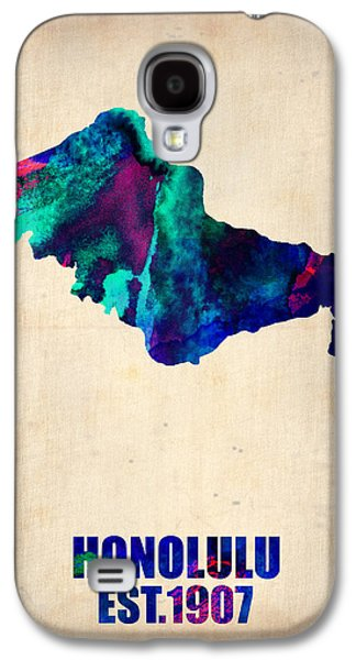 Midwest Galaxy S4 Cases - Honolulu Watercolor Map Galaxy S4 Case by Naxart Studio