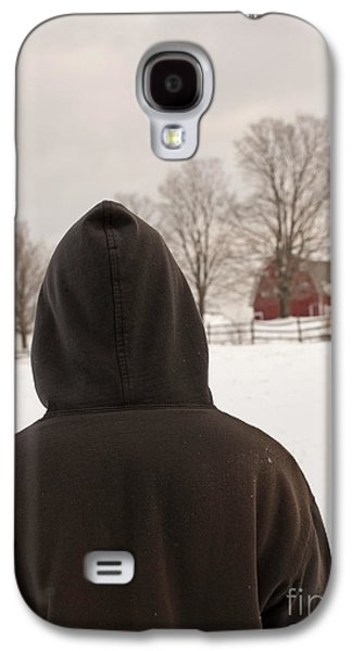 Rural Snow Scenes Galaxy S4 Cases - Hooded boy at farm in winter Galaxy S4 Case by Edward Fielding