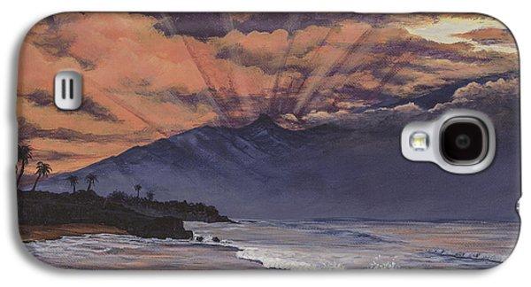 Sun Rays Paintings Galaxy S4 Cases - Hookipa Sunset Galaxy S4 Case by Darice Machel McGuire