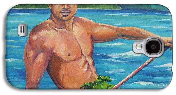Canoe Paintings Galaxy S4 Cases - Hoomakauka Galaxy S4 Case by John Clark