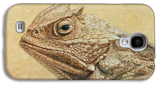 Nature Drawings Galaxy S4 Cases - Horned Toad Galaxy S4 Case by James W Johnson