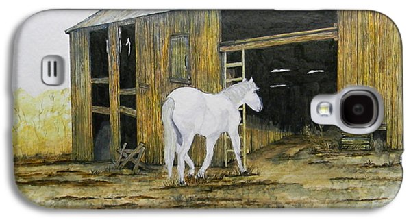 Shed Drawings Galaxy S4 Cases - Horse and Barn Galaxy S4 Case by Bertie Edwards