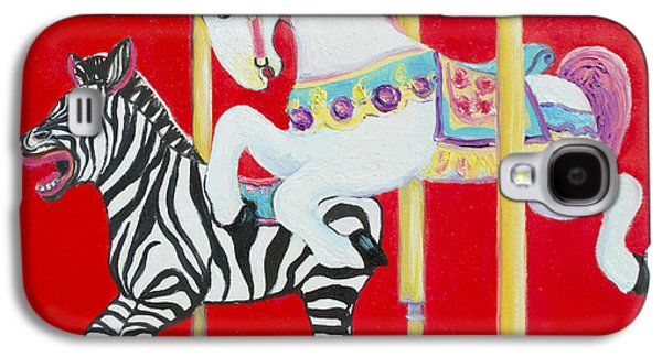 Carousel Horse Paintings Galaxy S4 Cases - Horse and Zebra Carousel Galaxy S4 Case by Jan Matson