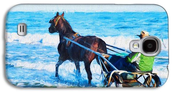 Horse And Cart Digital Art Galaxy S4 Cases - Horse Drawn Carriage In The Ocean Digital Art Galaxy S4 Case by Vizual Studio