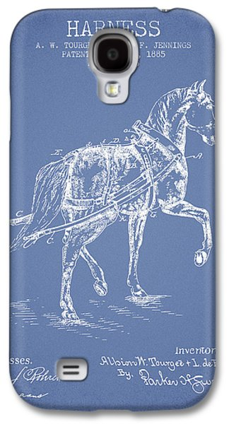 Horse Digital Art Galaxy S4 Cases - Horse harness patent from 1885 - Light Blue Galaxy S4 Case by Aged Pixel