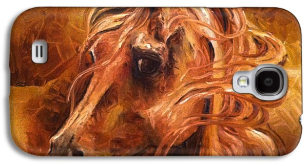 Windblown Paintings Galaxy S4 Cases - Horse in Gold Galaxy S4 Case by Leni Tarleton
