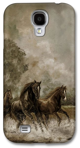 Horse Painting Escaping The Storm Galaxy S4 Case by Regina Femrite
