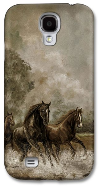 Equestrian Prints Galaxy S4 Cases - Horse Painting Escaping the Storm Galaxy S4 Case by Gina Femrite