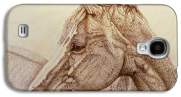 Drawing Pyrography Galaxy S4 Cases - Horse Portrait Galaxy S4 Case by Fay De Jong