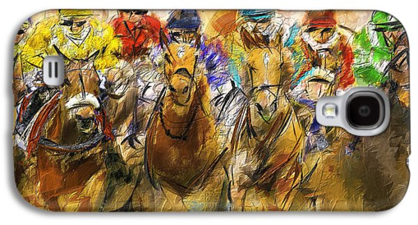 Horse Racing Galaxy S4 Cases - Horse Racing Abstract Galaxy S4 Case by Lourry Legarde