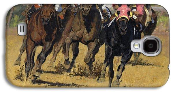 Horse Racing Playfellow Galaxy S4 Case by Don  Langeneckert
