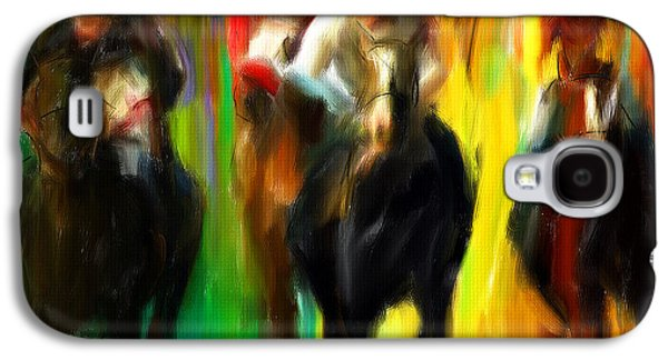 Horse Racing Galaxy S4 Cases - Horse Racing III Galaxy S4 Case by Lourry Legarde