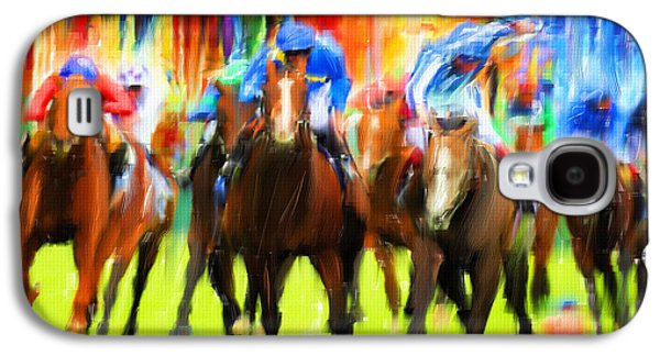 Collection Galaxy S4 Cases - Horse Racing Galaxy S4 Case by Lourry Legarde