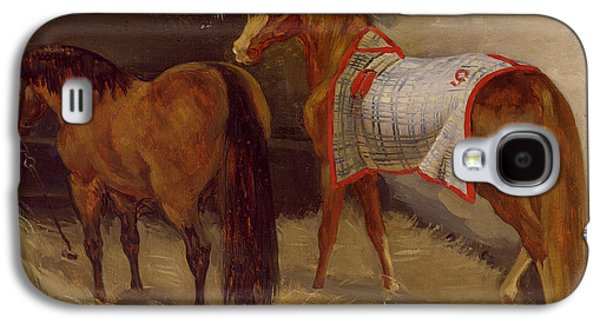 Blanket Galaxy S4 Cases - Horses In The Stables Oil On Canvas Galaxy S4 Case by Theodore Gericault