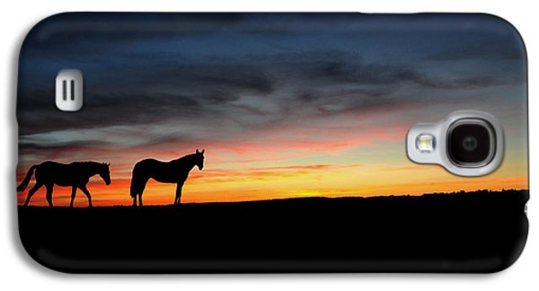 Sun Drawings Galaxy S4 Cases - Horses walking in the sunset Galaxy S4 Case by Aged Pixel