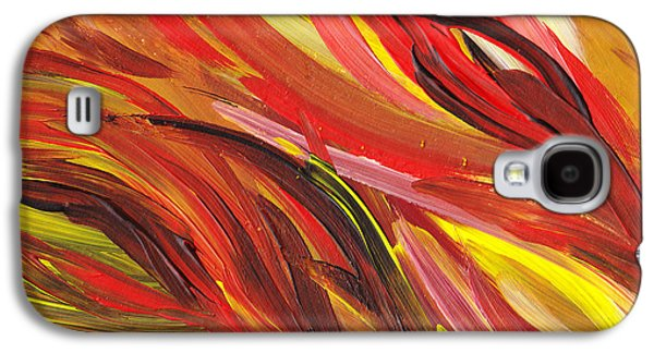 Inspired Paintings Galaxy S4 Cases - Hot Abstract Flames Galaxy S4 Case by Irina Sztukowski