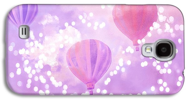 Hot Air Balloon Galaxy S4 Cases - Surreal Dreamy Hot Air Balloons Lavender Purple Carnival Festival Art - Child Baby Girl Nursery Art Galaxy S4 Case by Kathy Fornal