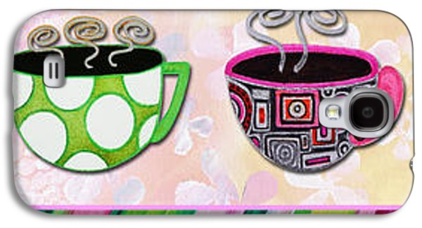 Tea Party Paintings Galaxy S4 Cases - Hot Cuppa Mugs Cups Whimsical Pop Art Tea Party by Romi and Megan Galaxy S4 Case by Megan Duncanson