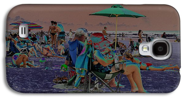 Tourists Jewelry Galaxy S4 Cases - Hot Day at the Beach - Solarized Galaxy S4 Case by Suzanne Gaff