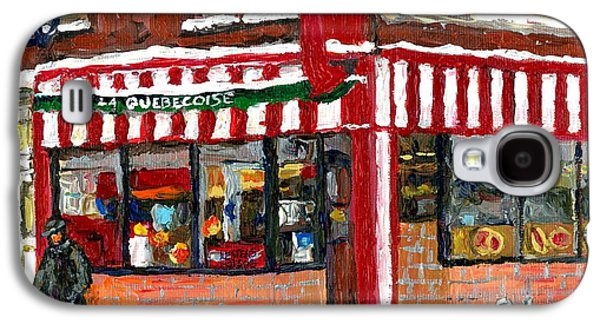 Montreal Memories Galaxy S4 Cases - Hot Food On A Cold Day Quebec Restaurant Winter Scene Paintings Waiting For The Bus Montreal Art  Galaxy S4 Case by Carole Spandau