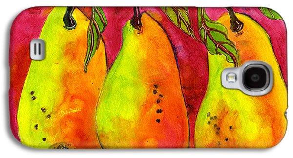 Pear Art Galaxy S4 Cases - Hot Pink Three Pears Galaxy S4 Case by Blenda Studio