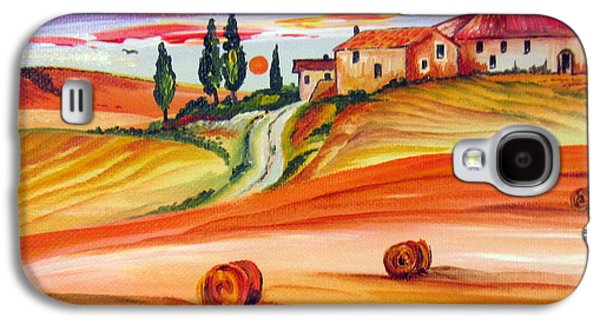 Tuscan Sunset Paintings Galaxy S4 Cases - Hot Summer Tuscany sunset Galaxy S4 Case by Roberto Gagliardi