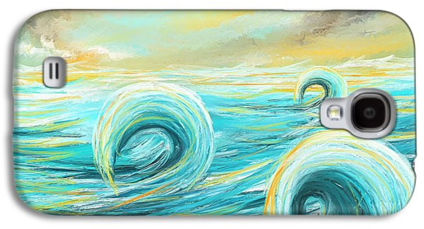 Blue Green Wave Galaxy S4 Cases - Hour Of Glow - Sunset On Water Painting Galaxy S4 Case by Lourry Legarde