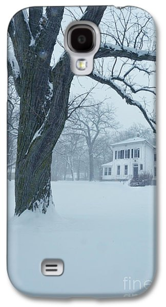 Rural Snow Scenes Galaxy S4 Cases - House and Big Tree in Snow Galaxy S4 Case by Jill Battaglia