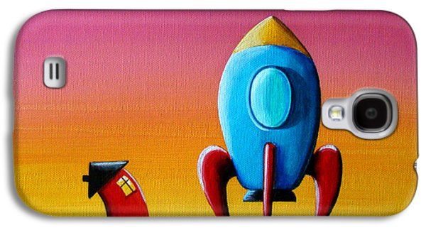 Space Paintings Galaxy S4 Cases - House Builds A Rocketship Galaxy S4 Case by Cindy Thornton