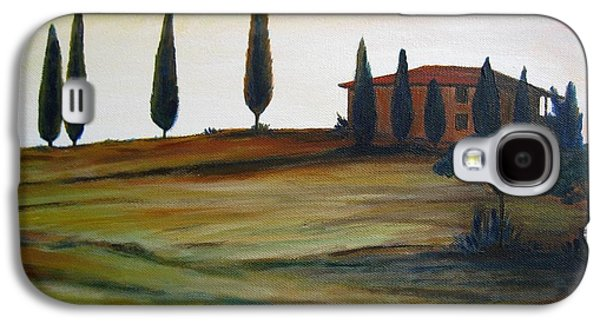 Tuscan Sunset Paintings Galaxy S4 Cases - House in Tuscany Galaxy S4 Case by Christine Huwer