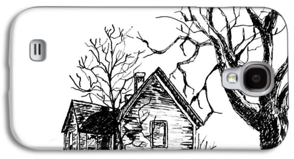 Haunted House Drawings Galaxy S4 Cases - The Haunted House at the End Galaxy S4 Case by Terry Ganey