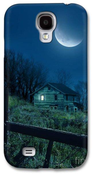 Home Improvement Galaxy S4 Cases - House Under the Moon Galaxy S4 Case by Jill Battaglia