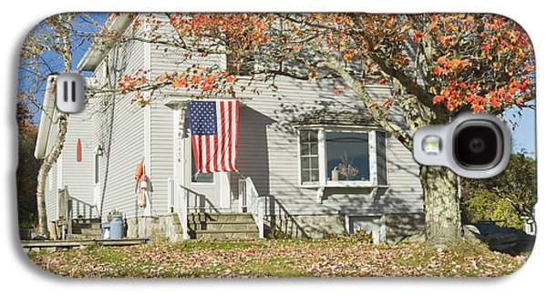 Old Maine Houses Galaxy S4 Cases - House with American Flag Galaxy S4 Case by Keith Webber Jr