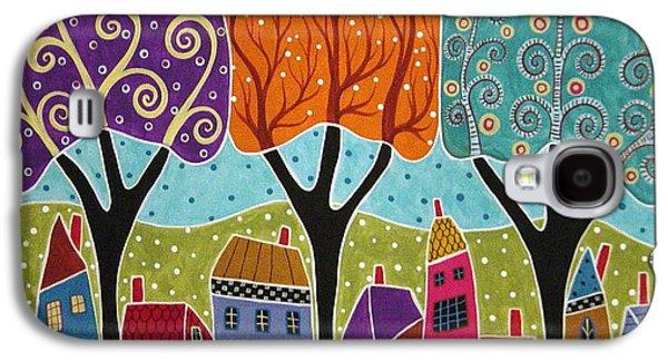 Folk Art Mixed Media Galaxy S4 Cases - Houses Trees Folk Art Abstract  Galaxy S4 Case by Karla Gerard
