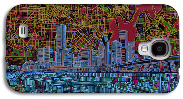 Abstract Digital Art Galaxy S4 Cases - Houston Skyline Abstract 3 Galaxy S4 Case by MB Art factory