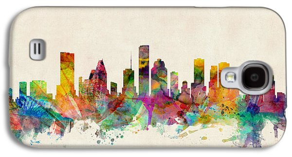 Cityscape Digital Galaxy S4 Cases - Houston Texas Skyline Galaxy S4 Case by Michael Tompsett