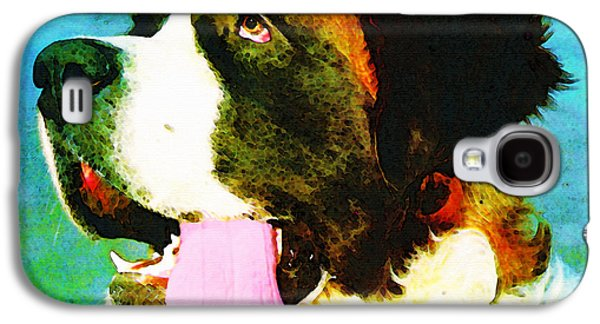 Dogs Mixed Media Galaxy S4 Cases - How Bout A Kiss - St Bernard Art by Sharon Cummings Galaxy S4 Case by Sharon Cummings