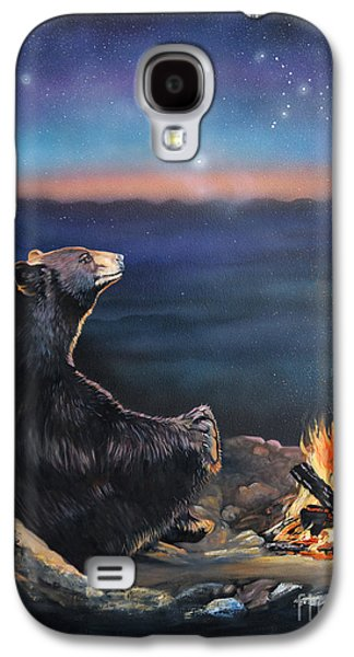 Animal Mixed Media Galaxy S4 Cases - How Grandfather Bear created the Stars Galaxy S4 Case by J W Baker
