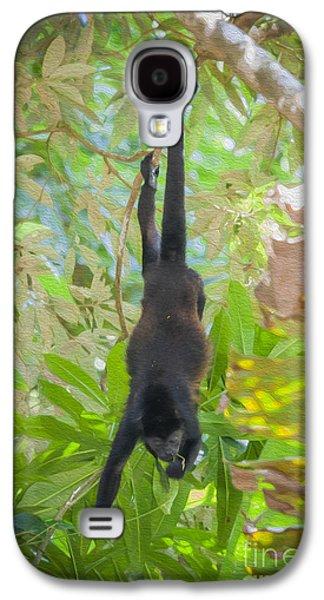 Ape Digital Art Galaxy S4 Cases - Howler monkey eating Galaxy S4 Case by Patricia Hofmeester