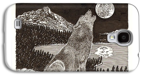 Crying Drawings Galaxy S4 Cases - Howling Coyote Full Moon Ho0wling Galaxy S4 Case by Jack Pumphrey