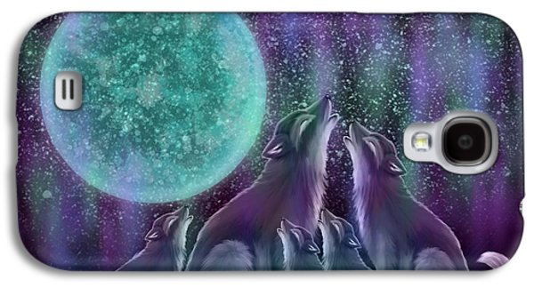 Wolves Digital Galaxy S4 Cases - Howling Together Galaxy S4 Case by Nick Gustafson